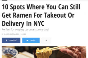 10 Spots Where You Can Still Get Ramen For Takeout Or Delivery In NYC